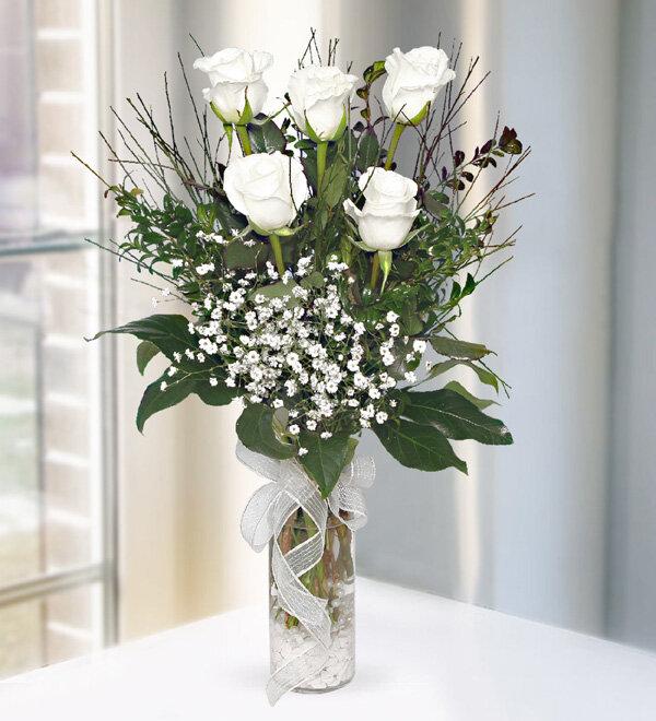 5 adet beyaz güller